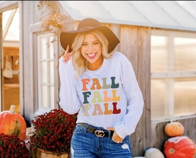 MULTI-COLOR FALL LONG SLEEVE GRAPHIC TEE
