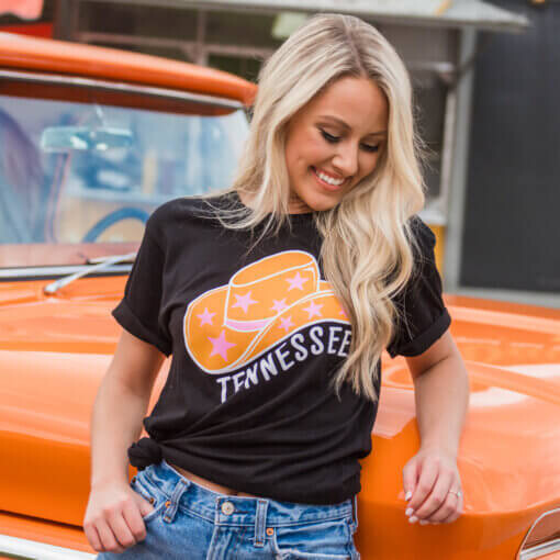 TENNESSEE STARRY COWGIRL HAT T-SHIRT