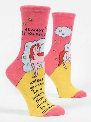 BlueQ Always Be Yourself Unicorn Women's Crew Socks