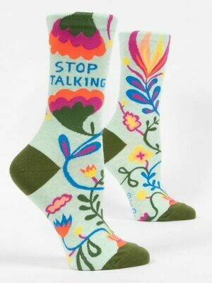 BlueQ Stop Talking Women's Crew Socks
