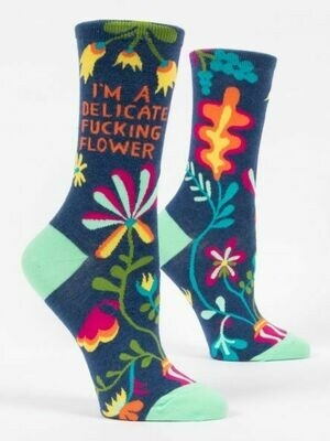 BlueQ I'm A Delicate Fucking Flower Women's Crew Socks
