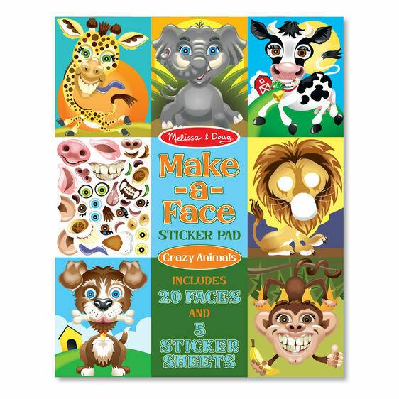 8605-ME Sticker Pad - Make-a-Face - Crazy Animals