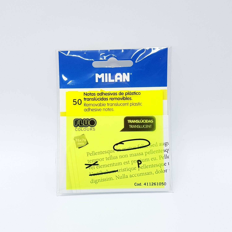 NOTAS ADHESIVAS TRANSLUCIDA AMARILLO MILAN