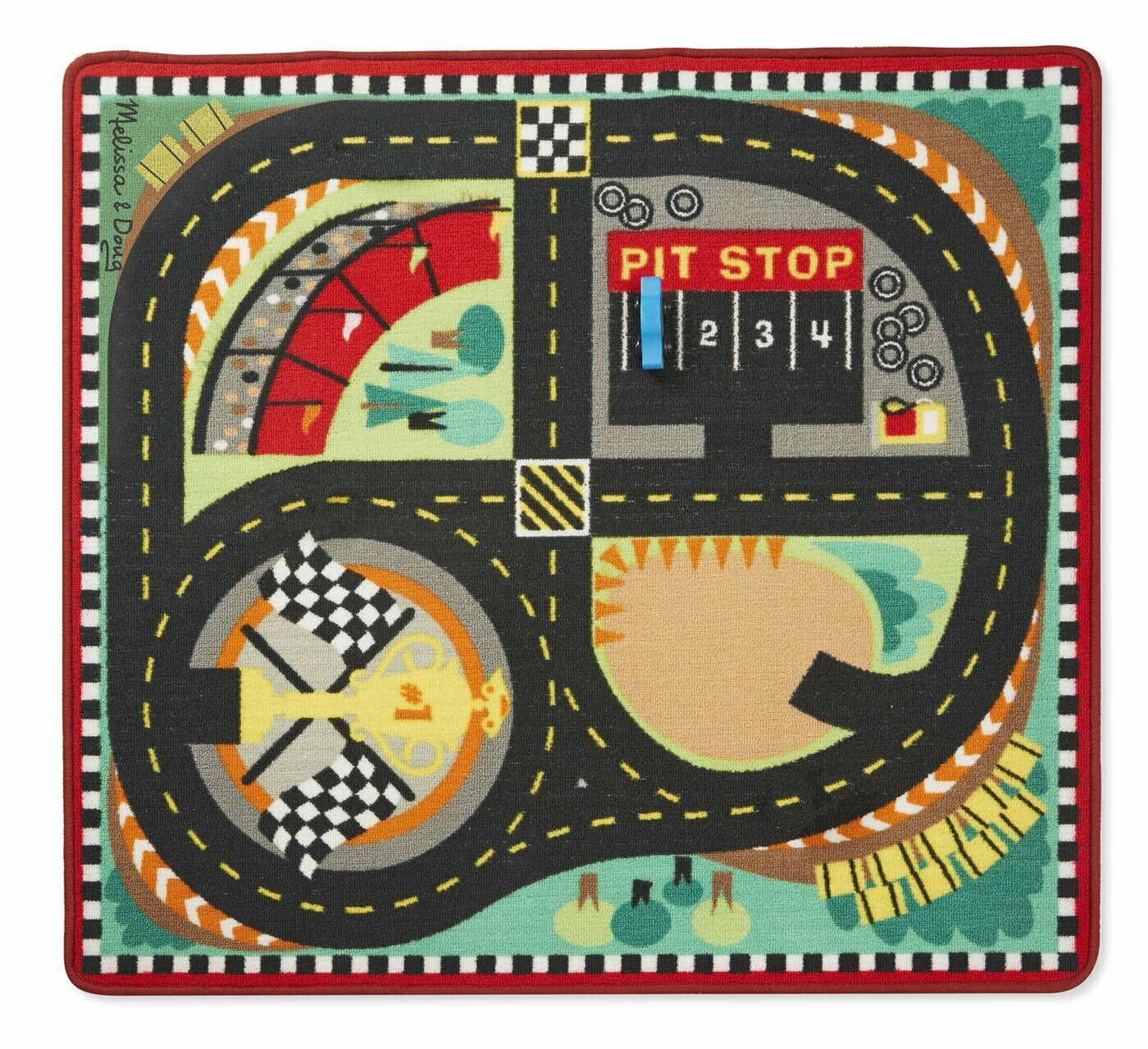 9401-ME ROUND THE SPEEDWAY RACE TRACK RUG - RED