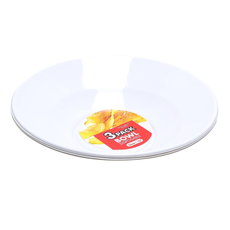 PLATO PLASTICO BOWL 26CM BLANCO 3PK