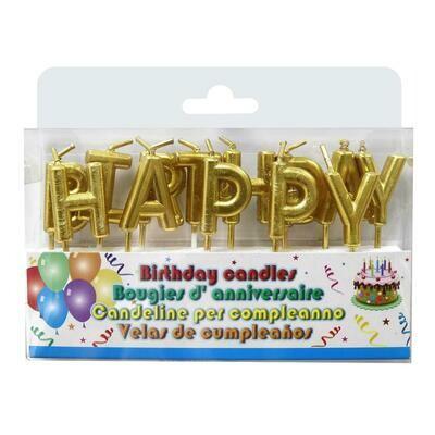 VELAS CUMPLEANOS HAPPY BIRTHDAY DORADO