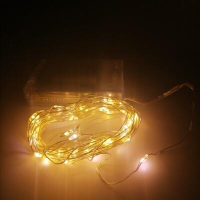 50L LED CABLE 5M COBRE LUZ BLANCA CALIDA DE BATERIA