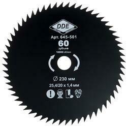 Диск для триммера DDE 60 зубьев 230х25,4мм (толщина - 1,4мм)645-501