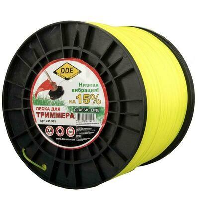 """Корд триммерный DDE """"Classic Line"""" (круг) 2,0ммх520м на катушке, желтый241-925"""
