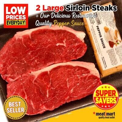 Steak Club - 2 Large Prime Sirloin Steaks with Pepper Sauce