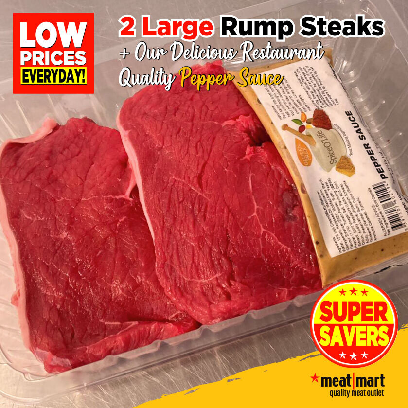 Steak Club - 2 Large Prime Rump Steaks with Pepper Sauce