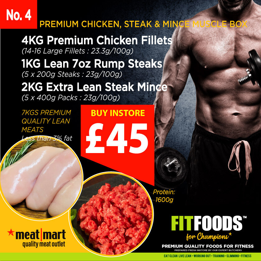 FIT FOODS - PREMIUM CHICKEN & STEAK MINCE MUSCLE BOX (PACK 4)*