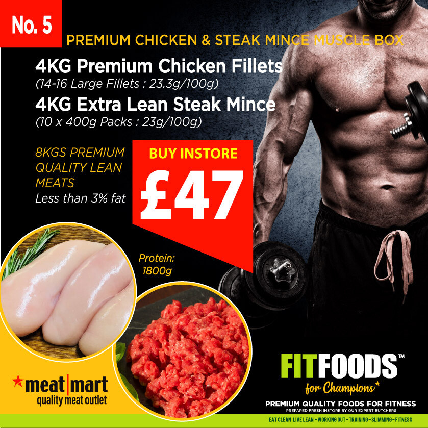 FIT FOODS - PREMIUM CHICKEN & STEAK MINCE MUSCLE BOX (PACK 5)*