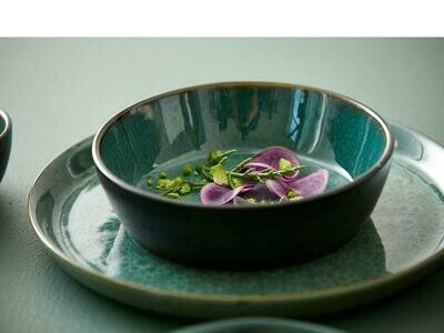 Bowl, Stoneware, Black/Green