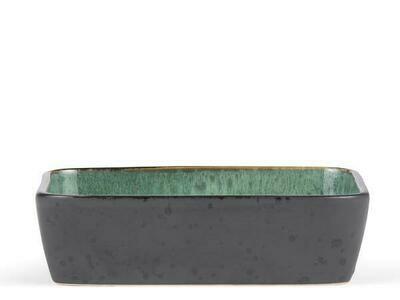 Dish Rectangular, Stoneware, Black/ Green