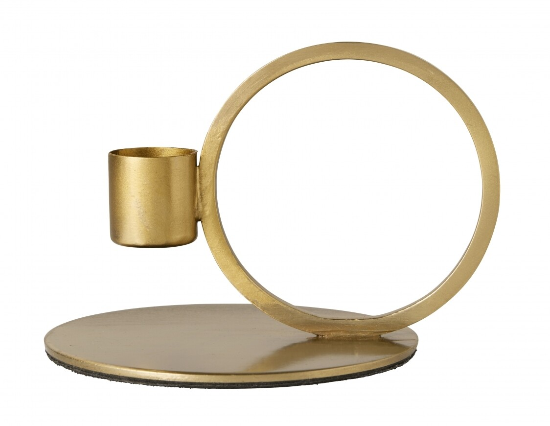 Candle Holder, Circle, Brass Finish