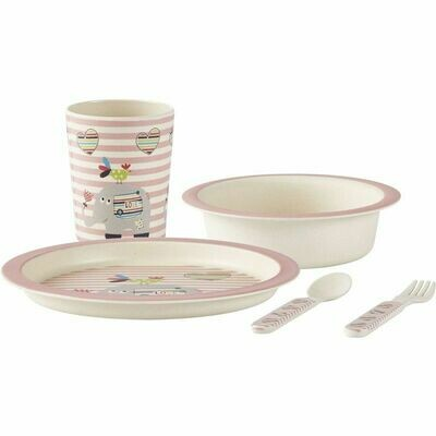 Children's crockery bamboo, pink, 5-part