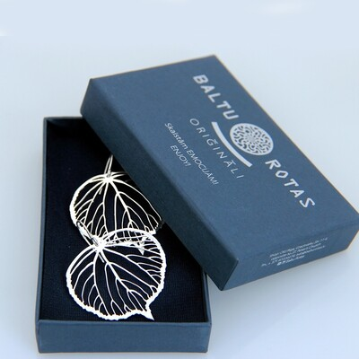 Silver large linden earrings