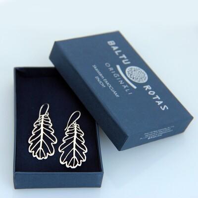 Silver large oak earrings
