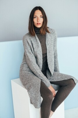 LONG MERINO BLEND COAT WITH POCKETS, Light Grey