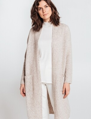 LONG MERINO BLEND COAT WITH POCKETS, Beige