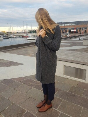 LONG MERINO BLEND COAT WITH POCKETS, Dark Grey