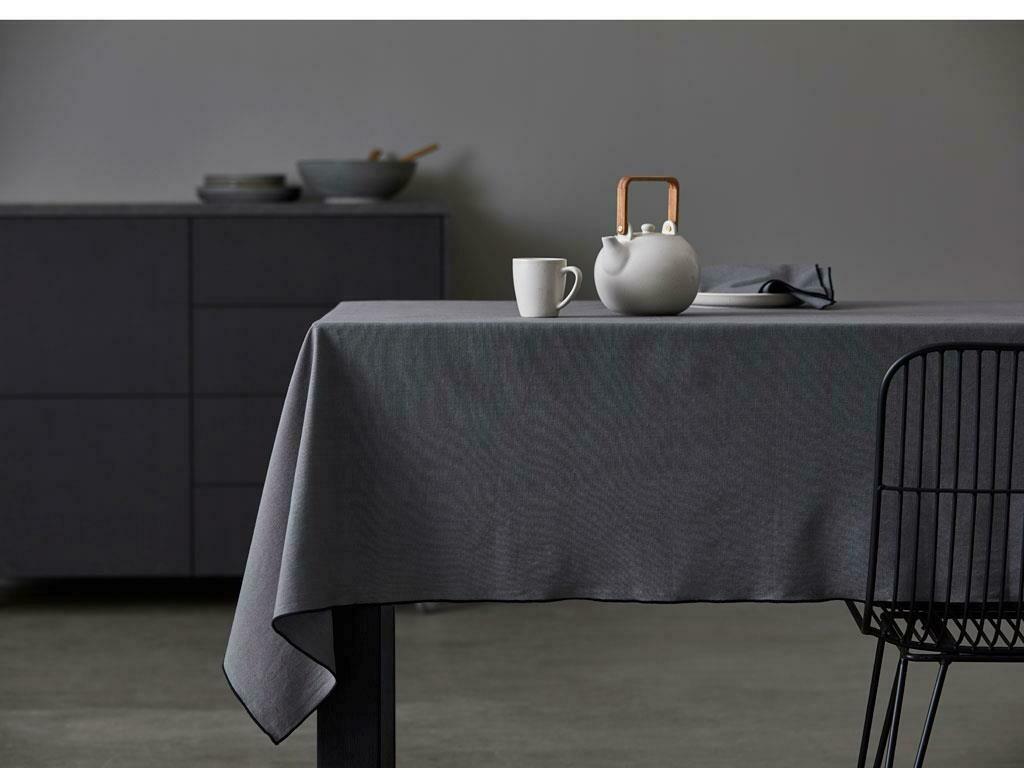Tablecloth ORGANIC, Grey/Black, 140 x 250 cm