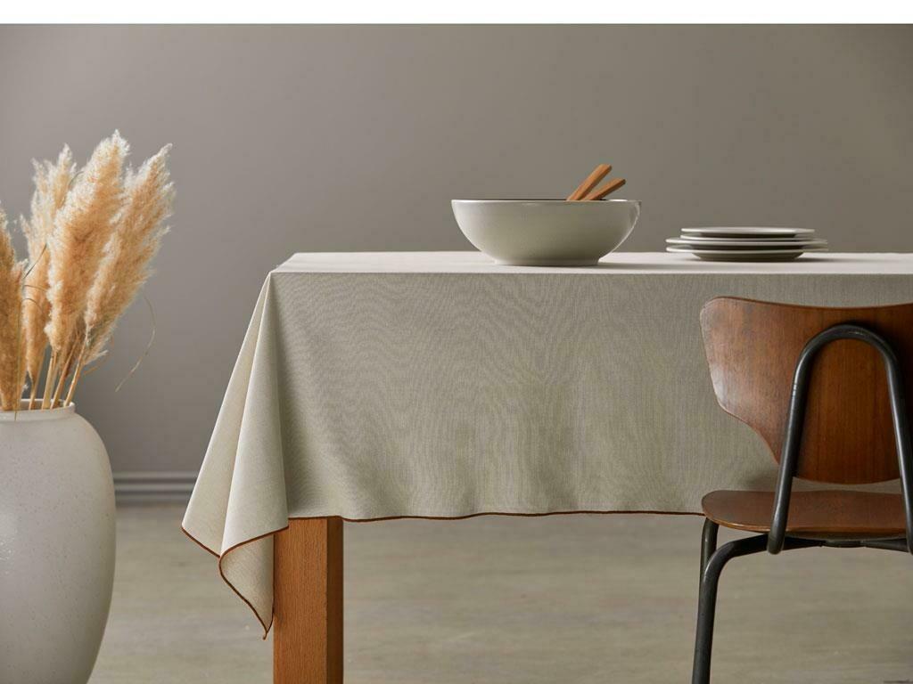 Tablecloth ORGANIC, Cream/Amber, 140 x 350cm