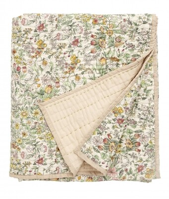 Quilt w/flowers, light pink back
