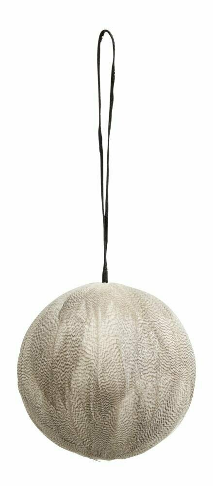 Feather hanging ball, white and grey