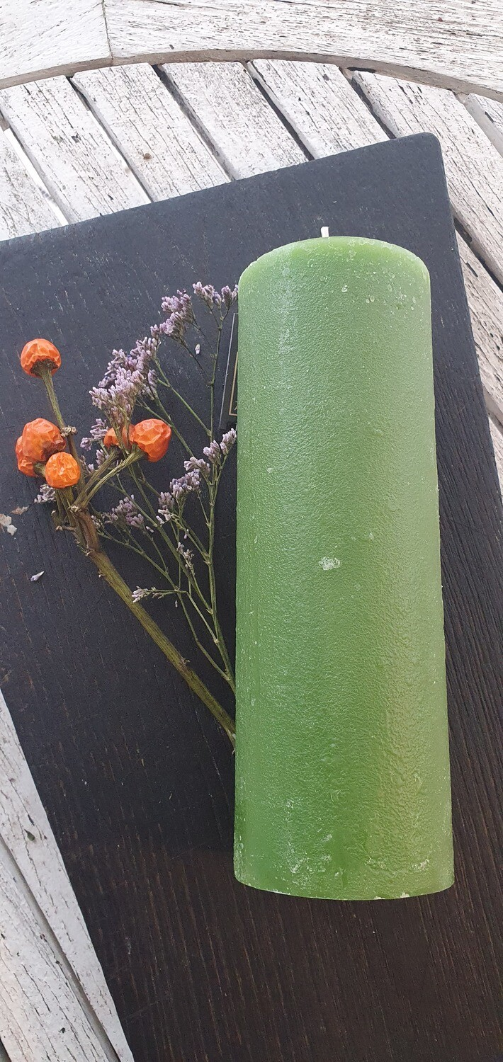 """Candle """"Rustic"""" Green, 17,5cm"""