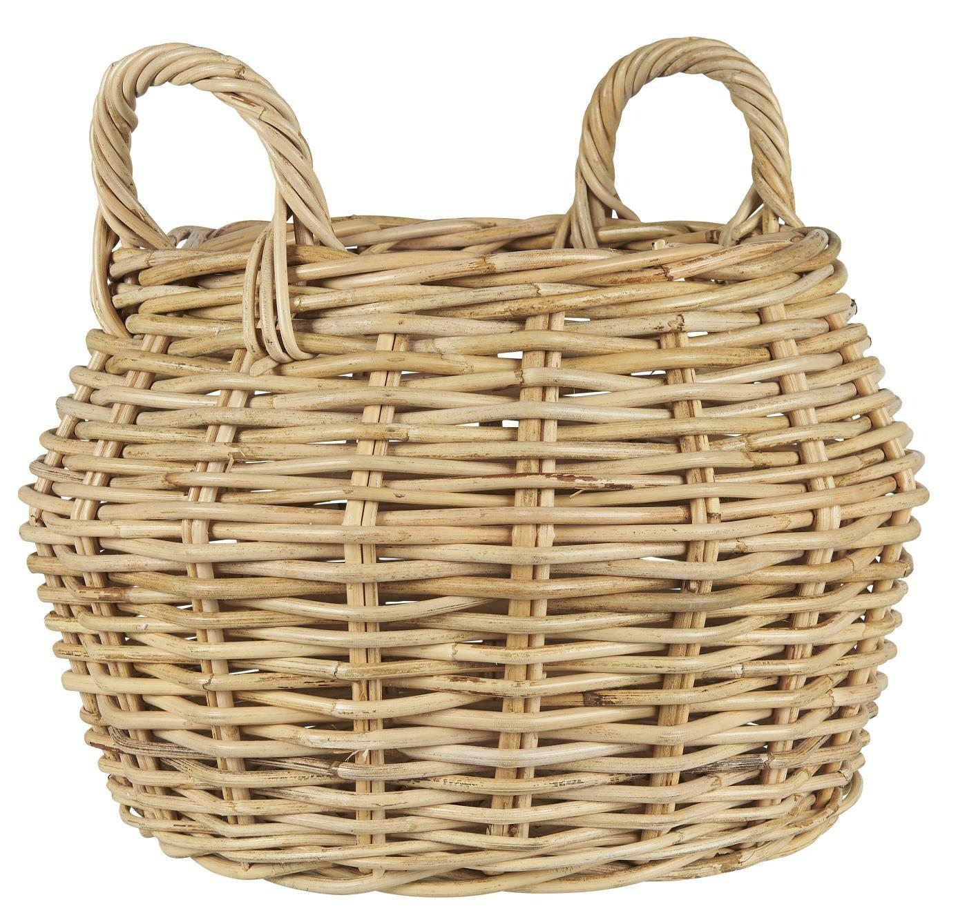 Basket round w/2 handles rattan