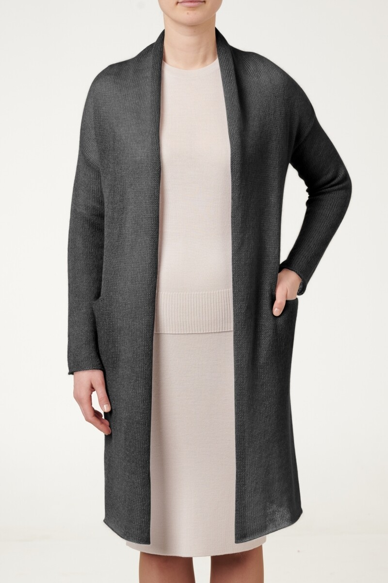 LONG MOHAIR CARDIGAN WITH POCKETS, Black