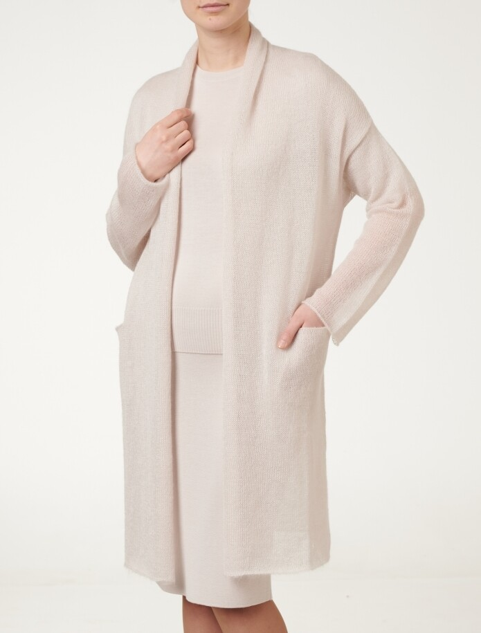 LONG MOHAIR CARDIGAN WITH POCKETS, Light beige