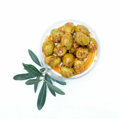 Oliven in Mango-Senf-Chilli Marinade