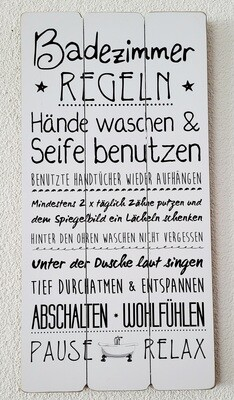 Wandbild / Badezimmerregel
