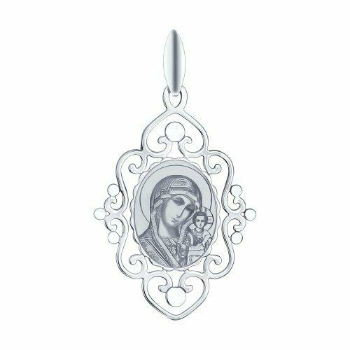 Иконка из серебра с лазерной обработкой и алмазной гранью