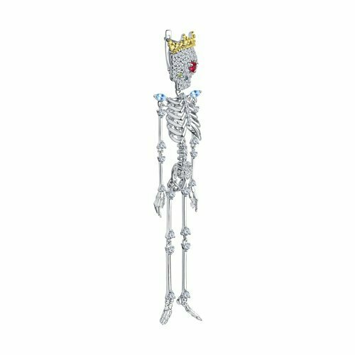 Серьга из золочёного серебра с корундом и фианитами