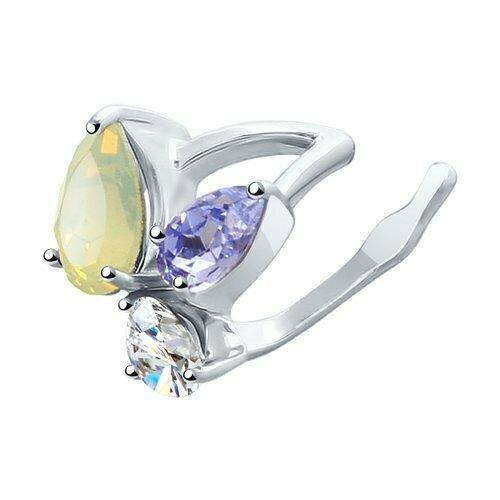 Серьга из серебра с белым, бесцветным и сиреневым кристаллами Swarovski