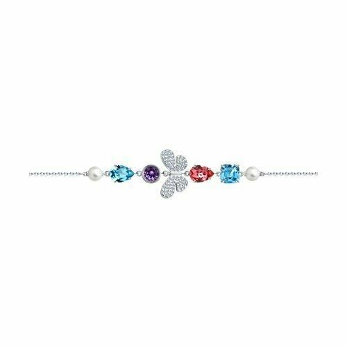 Браслет из серебра с жемчугом Swarovski, кристаллами Swarovski и фианитами