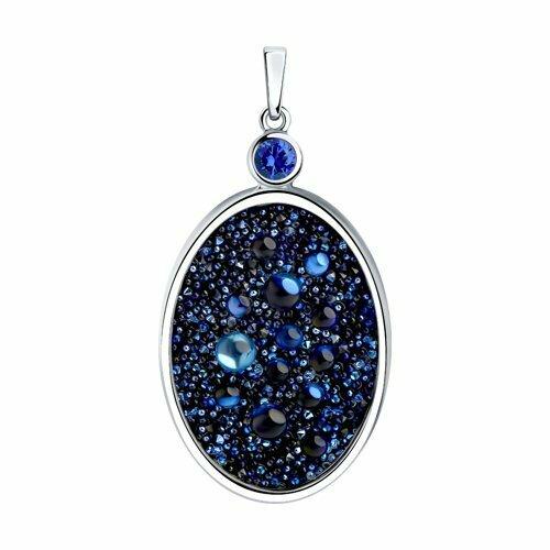 Подвеска из серебра с синим кристаллом Swarovski и фианитом