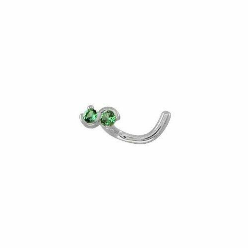 Пирсинг в нос бесконечность из серебра с зелеными фианитами