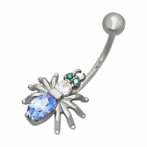 Пирсинг в пупок паук из серебра с зелеными и голубыми фианитами