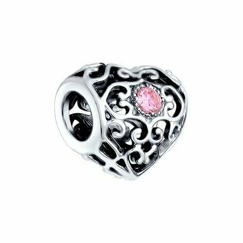 Подвеска из чернёного серебра с розовыми фианитами