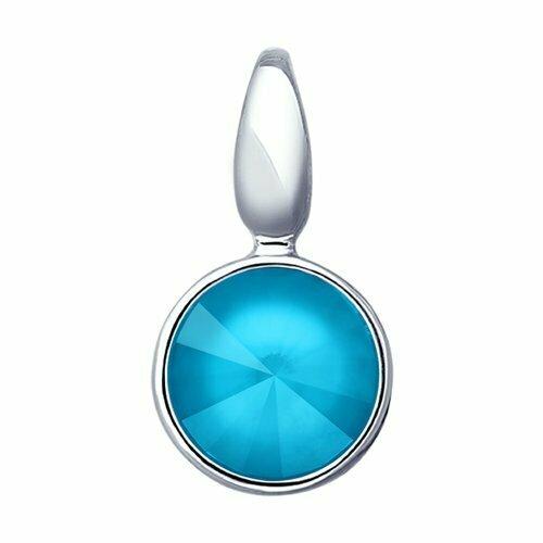 Подвеска из серебра с голубым кристаллом Swarovski
