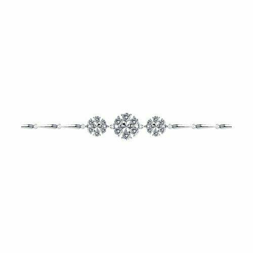 Браслет из серебра с алмазной гранью с фианитами