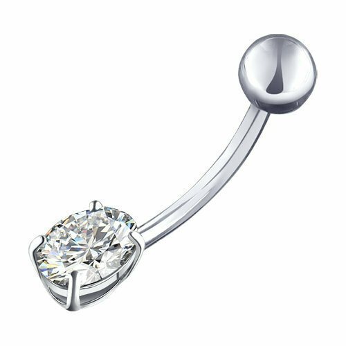 Пирсинг в пупок из серебра с фианитом