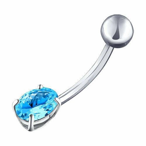 Пирсинг в пупок из серебра с голубым фианитом