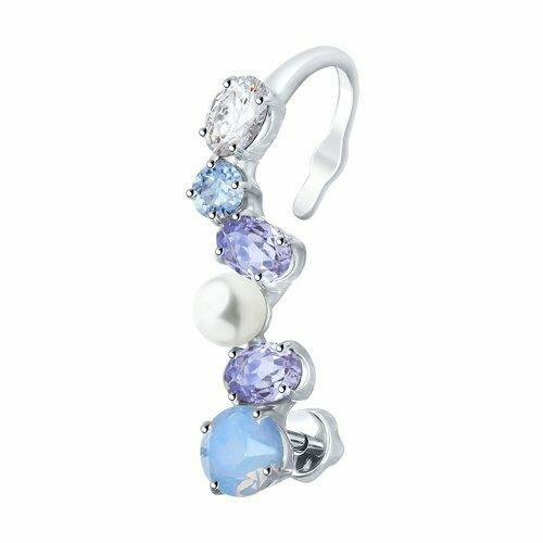 Серьга из серебра с жемчугом Swarovski и бесцветным, синим и сиреневыми кристаллами Swarovski