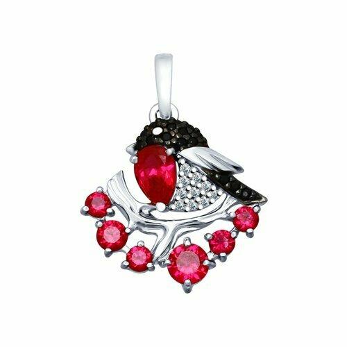 Подвеска из серебра с красными корунд (синт.) и бесцветными, красным и чёрными фианитами